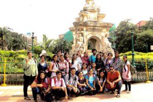 With students at Flora Fountain in South Mumbai. Photo Credit: Asit Kulkarni