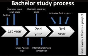Figure 1. Schematic of the study process of a music management bachelor candidate. Source: Own elaboration.